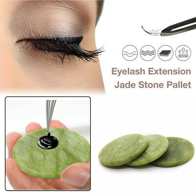 Natural Round Jade Stone Glue Adhesive Pallet Stand Holder Eyelash Extension