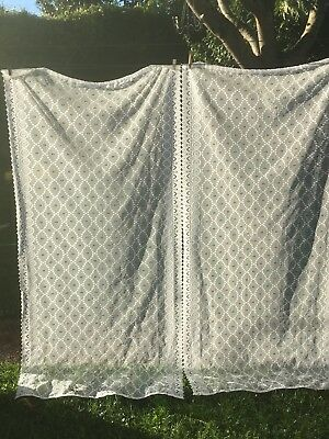 Charming Pair of French Vintage Net Lace Curtain Panels - Classic French Look
