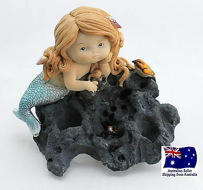 Sea Mermaid Sitting on Rock with Bird & Shell Fantasy Figurine Statue