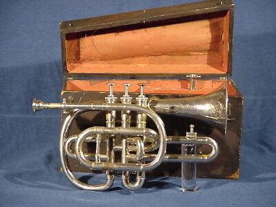 Antique early CORNOPEAN CORNET w. Heinrich  Stölzel valves invented 1812 w. case