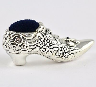Collectable Victorian Style Shoe Pin Cushion Sapphire Bow 925 Sterling Silver