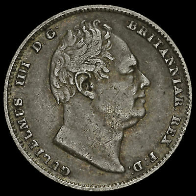 1834 William IV Milled Silver Sixpence, VF