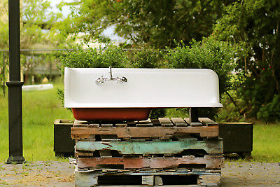 "1921 Refinished 52"" Antique Cast Iron High Back Corner Wall Kitchen Farm Sink"