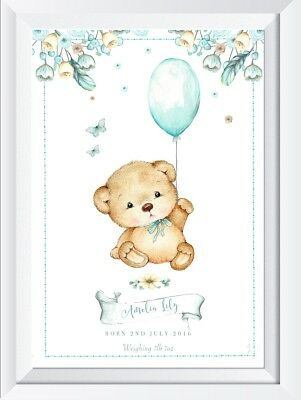 Personalised baby child name print picture teddy bear gift christening  nursery
