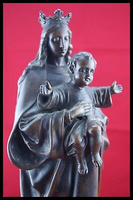 "† c.1900 BLACK MADONNA / VIRGO MATER PATINA SCULPTURE STATUE FRANCE H.15.3/4"" †"