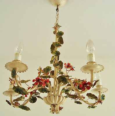 Ultimate Shabby Italian Chic Tole Chandelier Toleware Light Lamp Climbing Vine