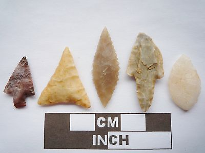 Neolithic Arrowheads x5, High Quality Selection of Styles - 4000BC - (Q082)
