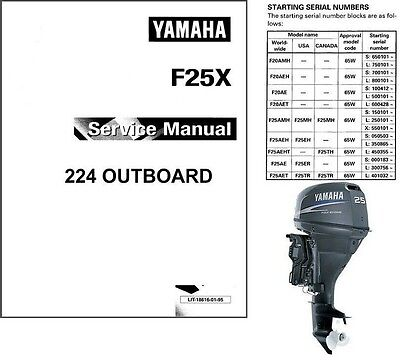 Yamaha F20 F25 20 25 Hp 4-Stroke Outboard Motors Service Repair Manual CD F25X