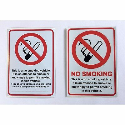 NO SMOKING Sign Double-Sided Self Adhesive Window Sticker For Car, Van, Taxi