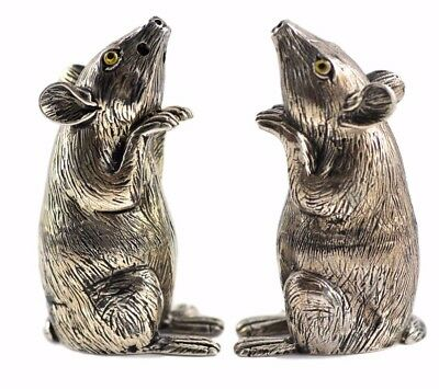 Collectable Victorian Style Mice Mouse Salt & Pepper Shakers 925 Sterling Silver