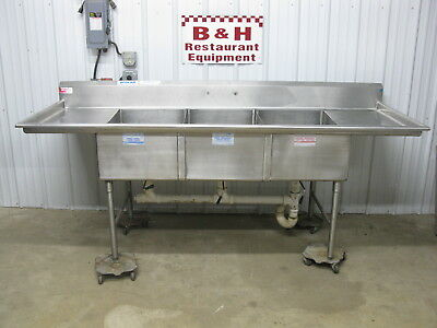 "American Delphi 96"" Heavy Duty 8' 3 Compartment Stainless Sink 20""x30"" Bowls"