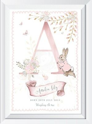 Personalised baby name print picture child Peter Rabbit gift christening nursery