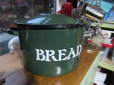 Vintage Enamel Bread Bin - Dark green, Kitchenalia, prop / film / stage.
