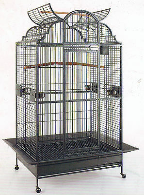 "64"" NEW Large Wrought Iron Open Dome Play Top Parrot Macaw Cockatoos Bird Cage69"