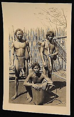 Early Vintage Vietnam Real Photo Postcard Young Warriors Tribal Dress Basket