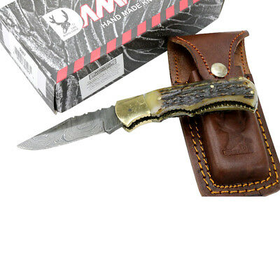"TheBoneEdge 6.5"" Damascus Folding Knife Stag Handle Handmade with Sheath New"