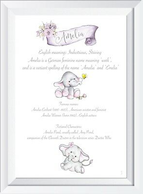 Personalised baby child name meaning print picture elephant gift christening art