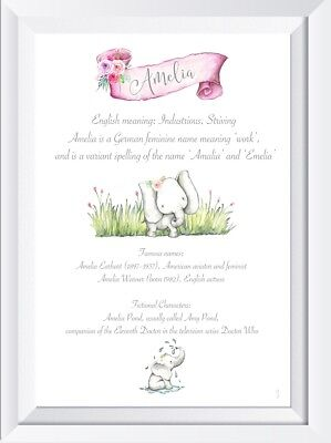 PERSONALISED ART PRINT Girls Names With Heartfelt Meaning - £2 99