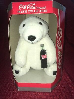 Coca Cola Brand Plush Collection Polar Bear Holding Glass Coke Bottle 1993