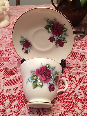 Crown Trent Staffordshire Red Roses Floral Tea Cup & Saucer Set white  Gift Idea