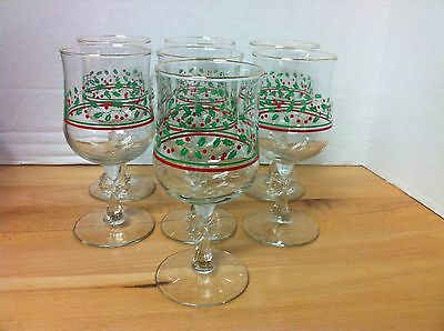 Set of 9 Vintage 1980's ARBY'S Christmas Holly Bow Stem Wine Goblets