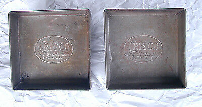 Lot of 2 Vintage Crisco Advertising Square Baking Cake Pans Tins Trays 8 x 8 Ad