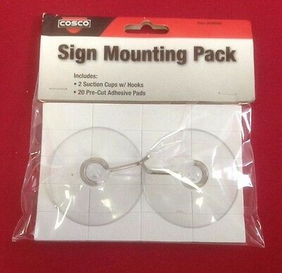 Cosco Sign Mounting Pack- 2 Suction cups W/ hooks- 20 Pre-cut Adhesive Pads