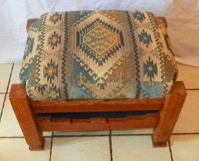 Solid Oak Southwest Footstool / Stool with Storage  (ST171)
