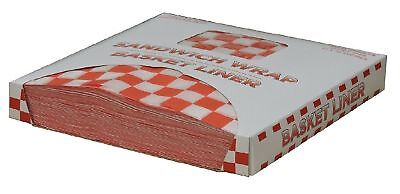 "Restaurant Deli Paper Food / Basket Liner Wrap, 12""x12"" Red Checkered, 1000 ct"