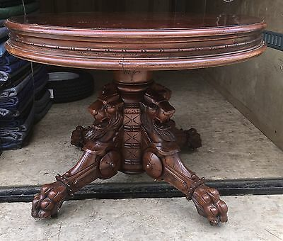 Walnut And Burl Carved Griffin Table, Bardwell,anderson & Co. Boston