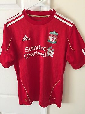 cheap for discount b1daa 802f2 STANDARD CHARTERED ADIDAS Liverpool Football Club Soccer Jersey SMALL Red  White