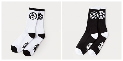 STUSSY SS LINK Cotton Socks Brand New 1 Pair Black/White UK SELLER FAST DELIVERY