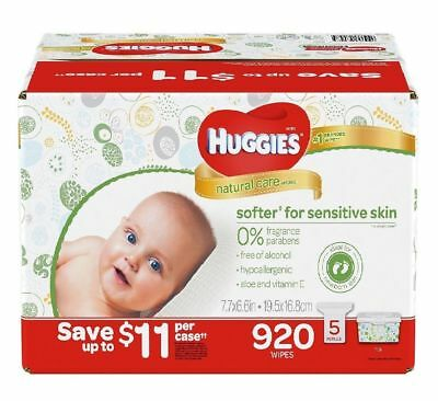 Huggies Natural Care Baby Wipes Refill 920 Ct Unscented Sensitive Skin - NEW