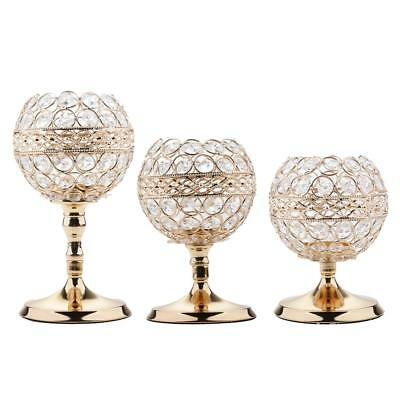 3Pcs MagiDeal Crystal Ball Globe Candle Holder Candlestick Centerpieces di
