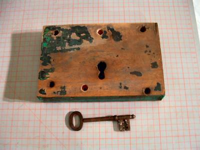 Antique wooden cased rim lock / mortice lock with key