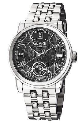 Gevril Men's 2621B Washington Automatic Black Dial Stainless Steel Date Watch
