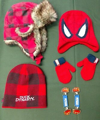 Boys Hats Mittens Spiderman Cars Duck Dynasty Great Lot!
