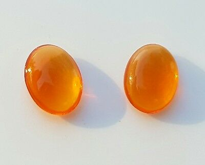 WaterfallGems 2 Mexican Fire Opals, Both 9.5x7.3mm, 2.13tcw