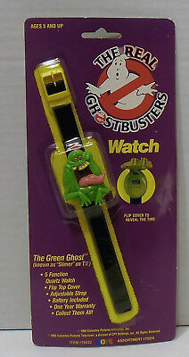 """1989 the Real Ghostbusters Slimer """"the Green Ghost"""" Watch by Hope Industries NIP"""