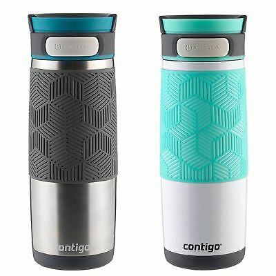 Contigo AUTOSEAL Transit Insulated Travel Mug 16oz Set Turquoise & Stainless