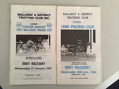 1985 and 1987 Ballarat Pacing Cup race book. Gammalite