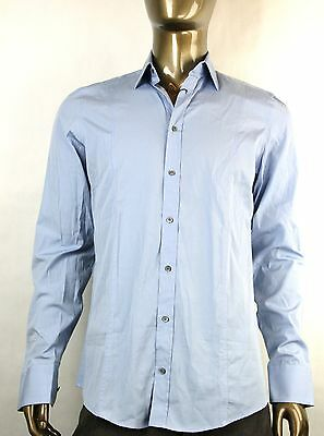 d7b1649b4 New Auth Gucci Mens Slim Cotton Button-Down Dress Shirt Blue 179349 4910