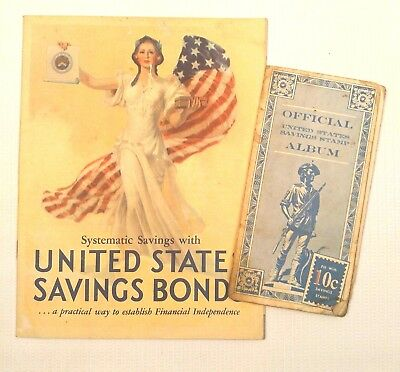 Official United States Savings Bonds Booklet Lady Liberty 1935 Stamp Album Vtg