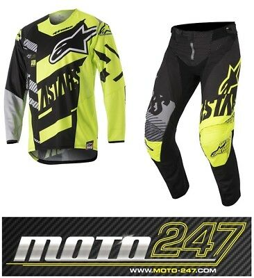 Alpinestars 2018 Techstar Screamer Youth Motocross Kit Black Yellow Flo & Grey