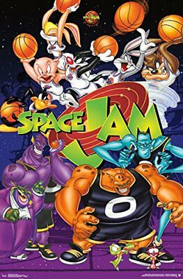 Space Jam Poster Looney Tunes Michael Jordan Collage Characters Home Decor NEW