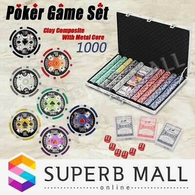 Dice Gamble Aluminium Carry Case Poker Game Play Set Casino Size Chips 1000 Chip