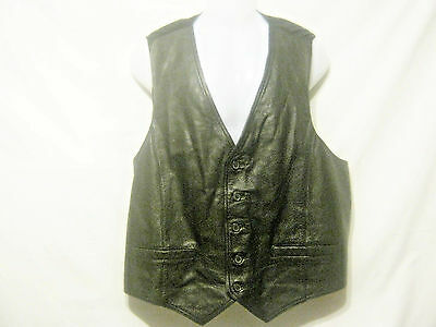 WILSONS Men's Leather Vest,Size 1X / XL,Black,Leather Front,Polyester Back,Lined