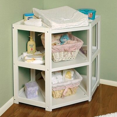 Baby Changing Table Pad Basket Nursery White Diaper Corner Storage Bookshelf