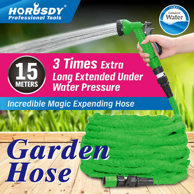 15M Pocket Expandable Garden Hose Stretch Magic Flexible Pipe Spray Gun Nozzle
