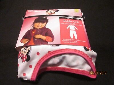 new GIRLS TODDLER cuddl duds 2 PC comfortech DISNEY MINNIE MOUSE white pink 4T